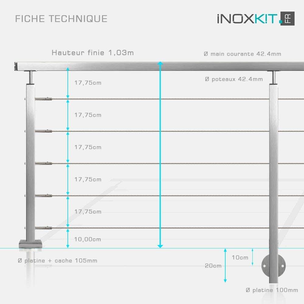 Garde-corps inox à câble tube carré caractéristiques