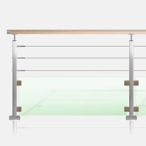 Kit 3 câbles et verre tube carré