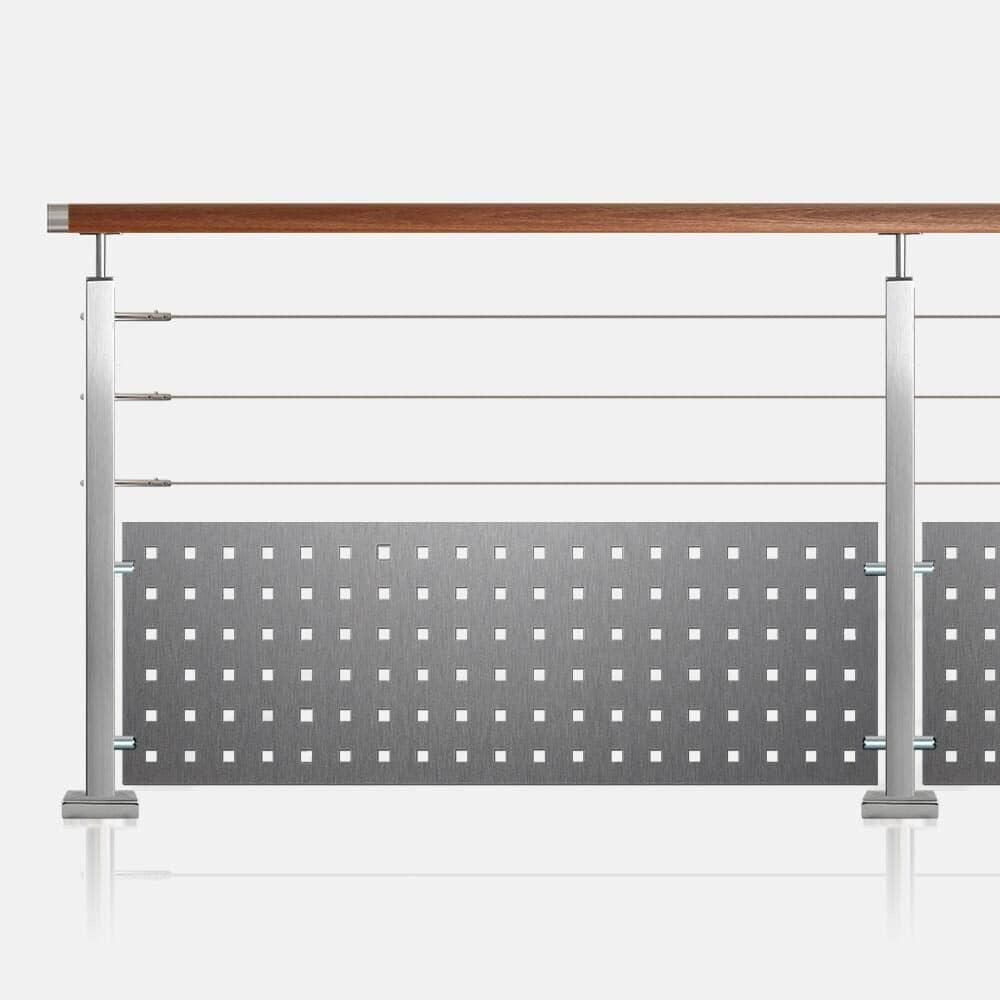 Balustrade à 3 câbles et tôle tube inox carré main courante bois exotique