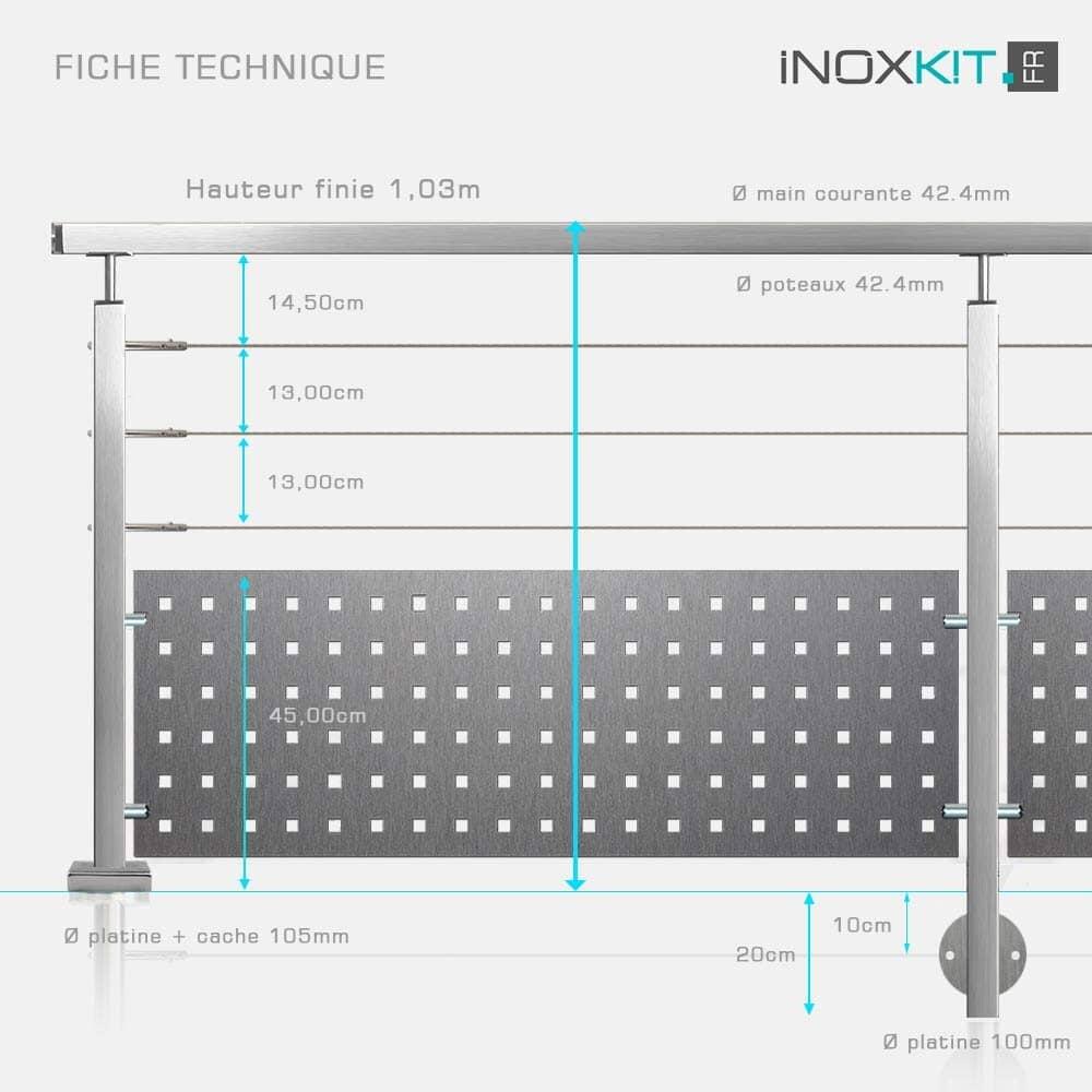 Garde-corps à 3 câbles et tôle tube inox carré