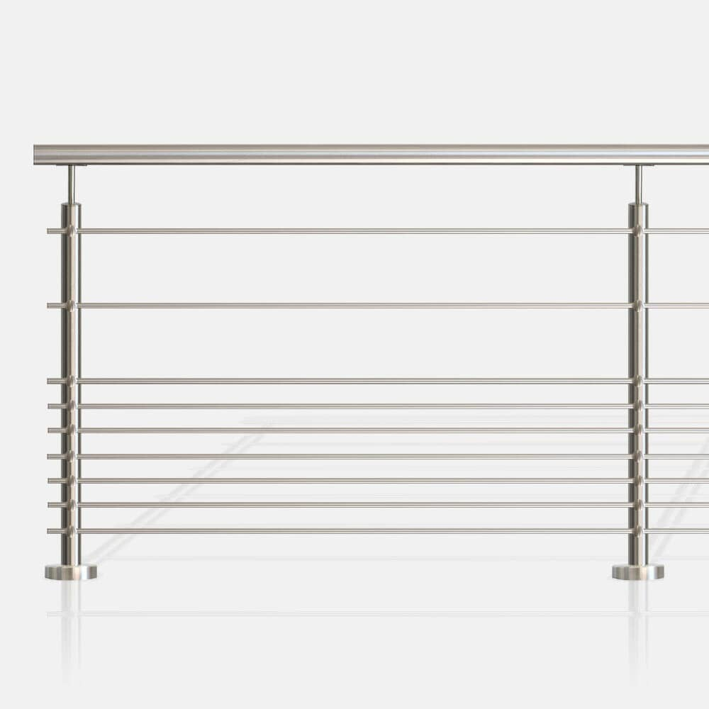 Balustrade à 9 lisses tubes inox ronds, barreaudage horizontal