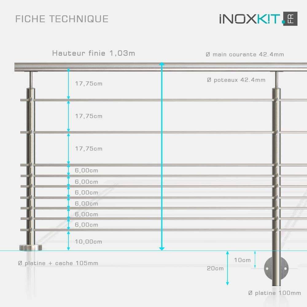 Rampe à 9 lisses tubes inox barreaudage horizontal