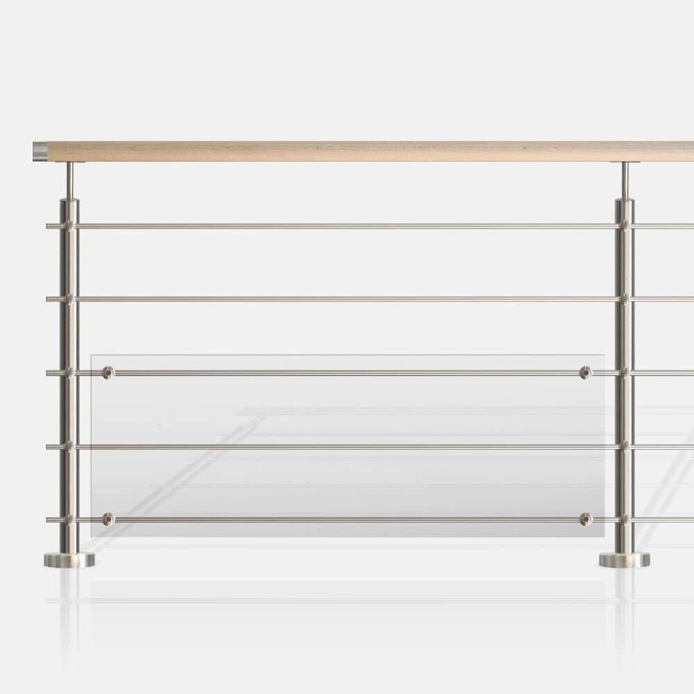 Balustrade inox tubes et polycarbonate main courante bois