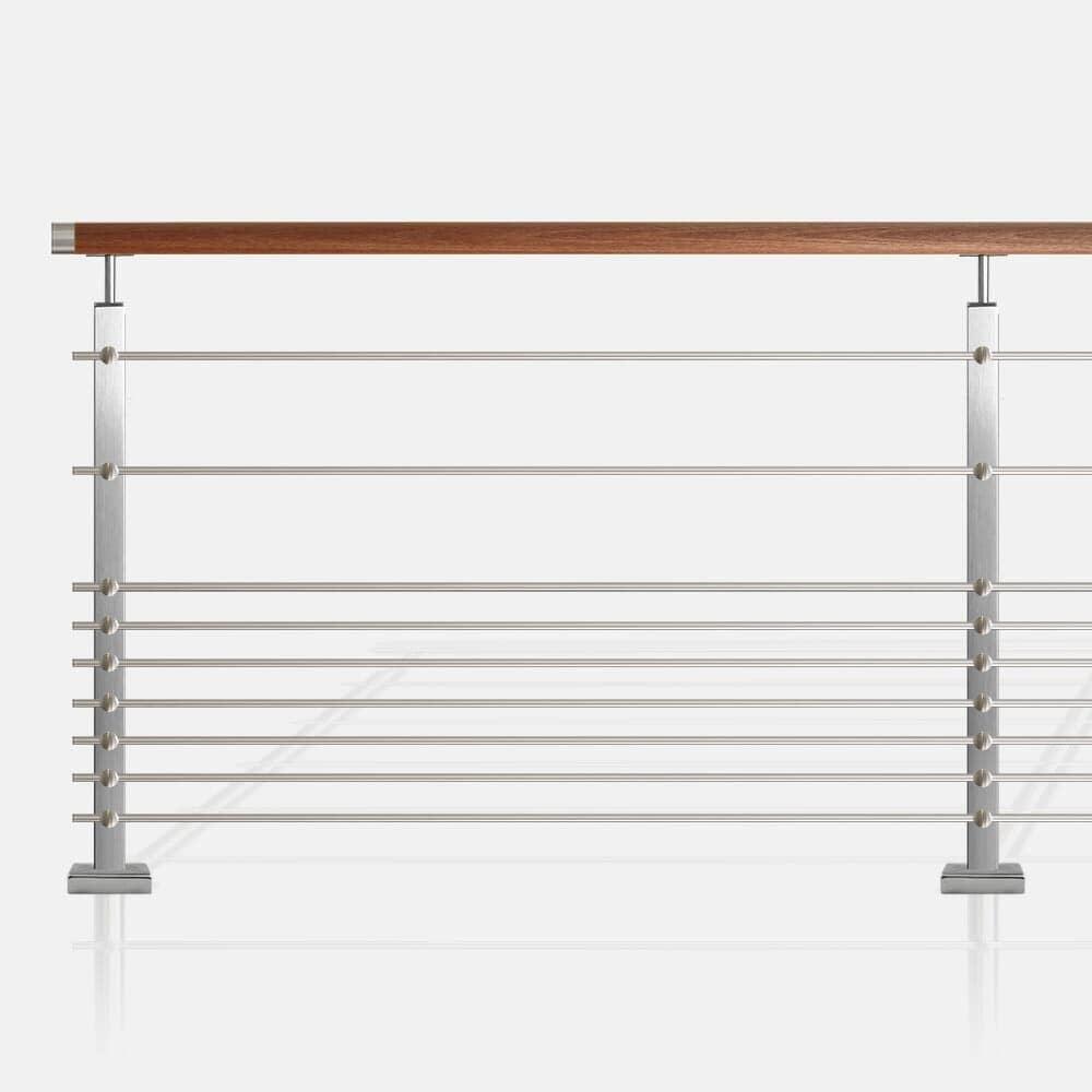 Garde-corps à 9 lisses inox tube carré rampe bois exotique