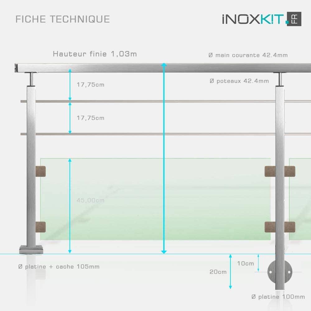 Garde-corps tube inox carré et verre