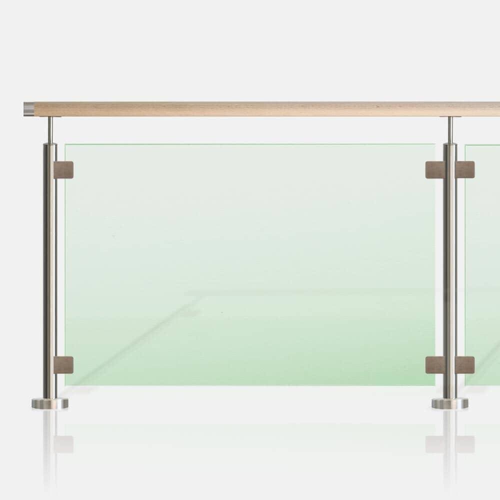 Kit balustrade verre inox avec main courante bois