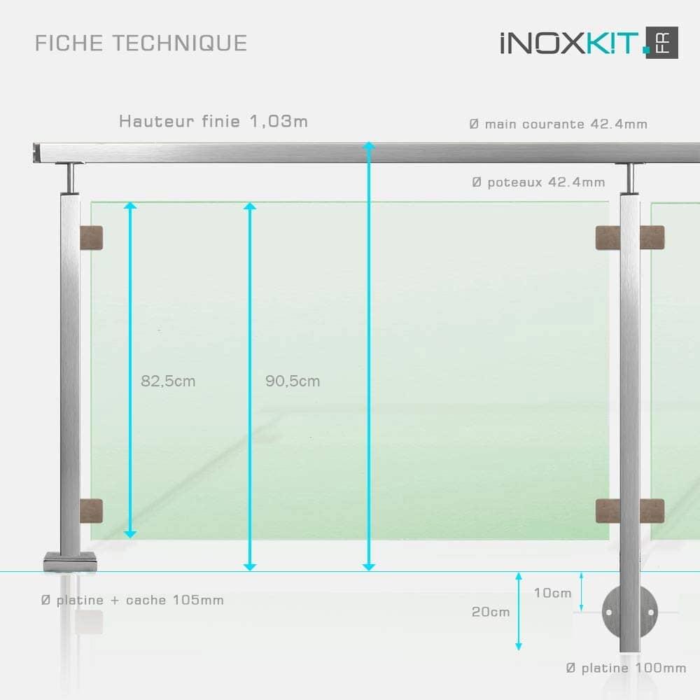 Balustrade verre inox et tube carré
