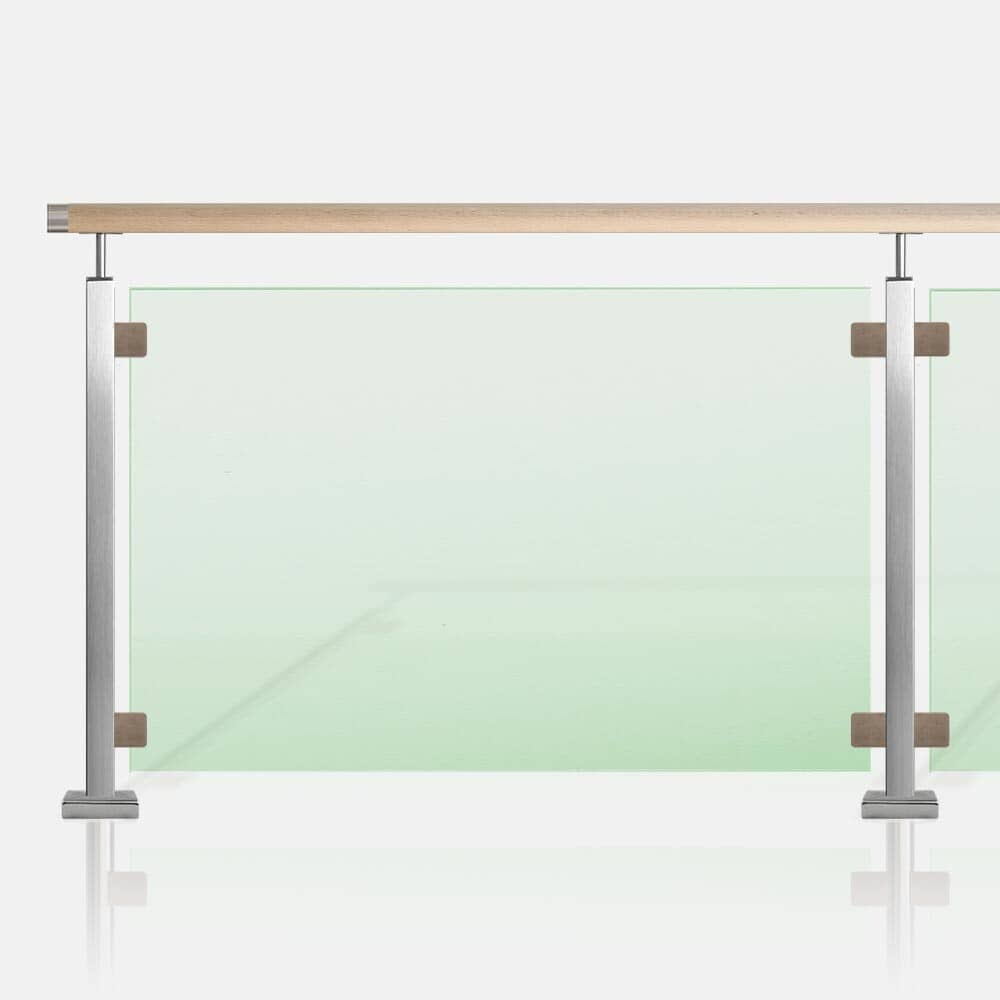 Balustrade verre inox et tube carré, main courante bois