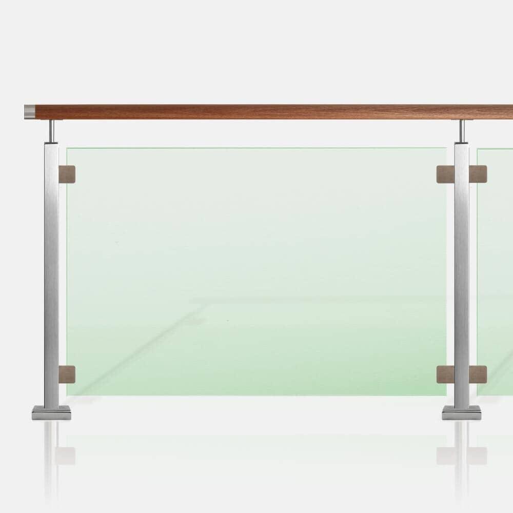 Garde-corps verre tube inox carré, main courante bois exotique