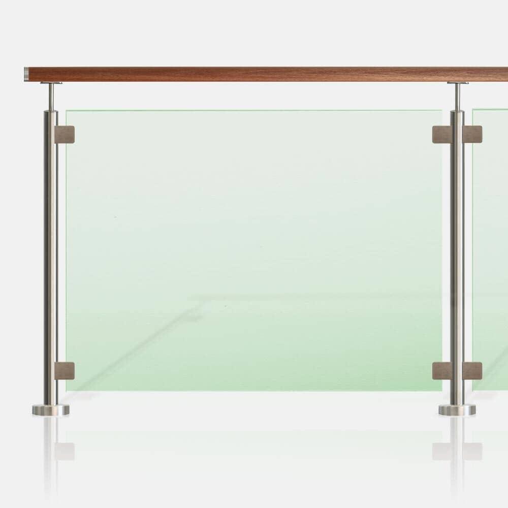 Barrière piscine inox et verre main courante bois exotique