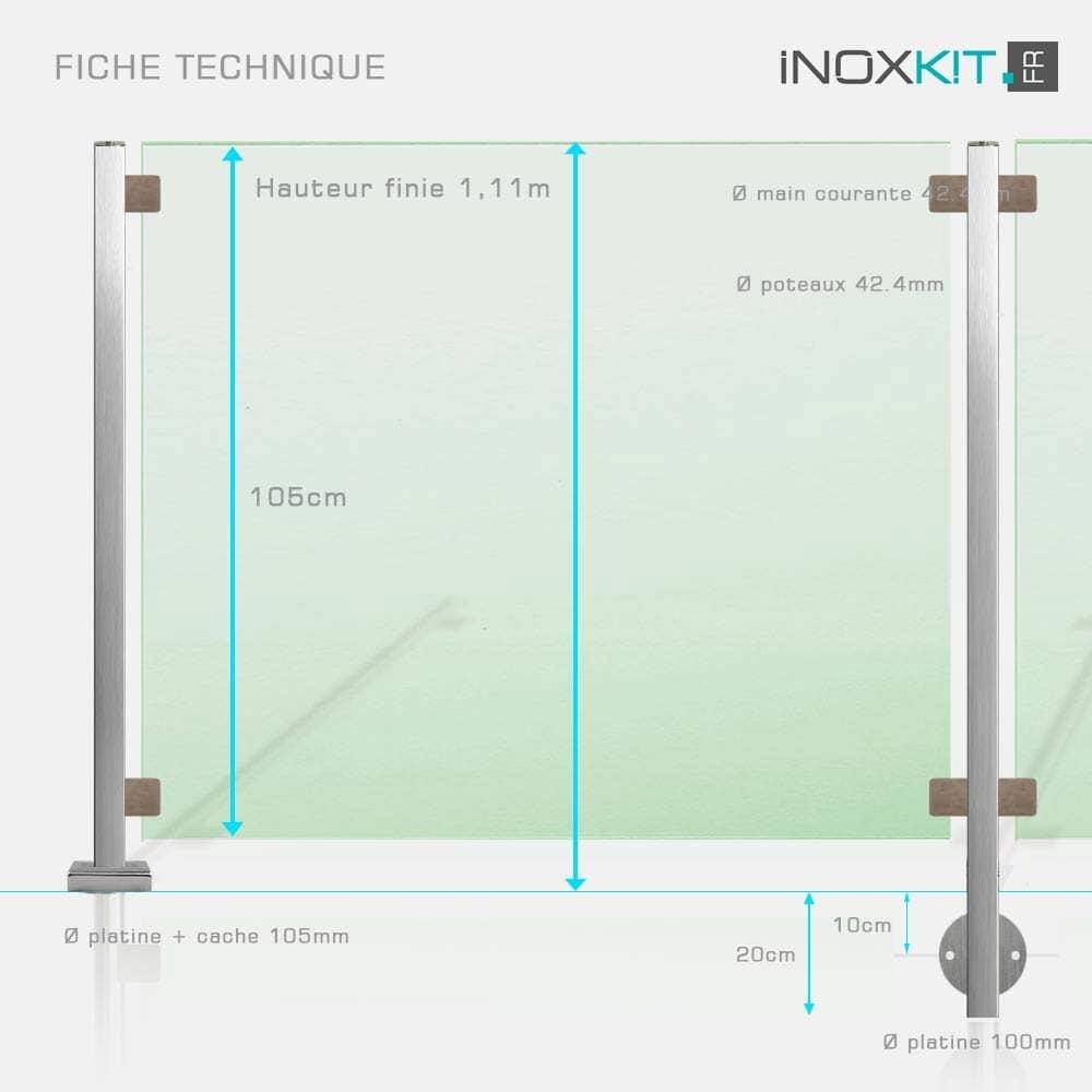 Barrière piscine tube inox carré et verre sans main courante