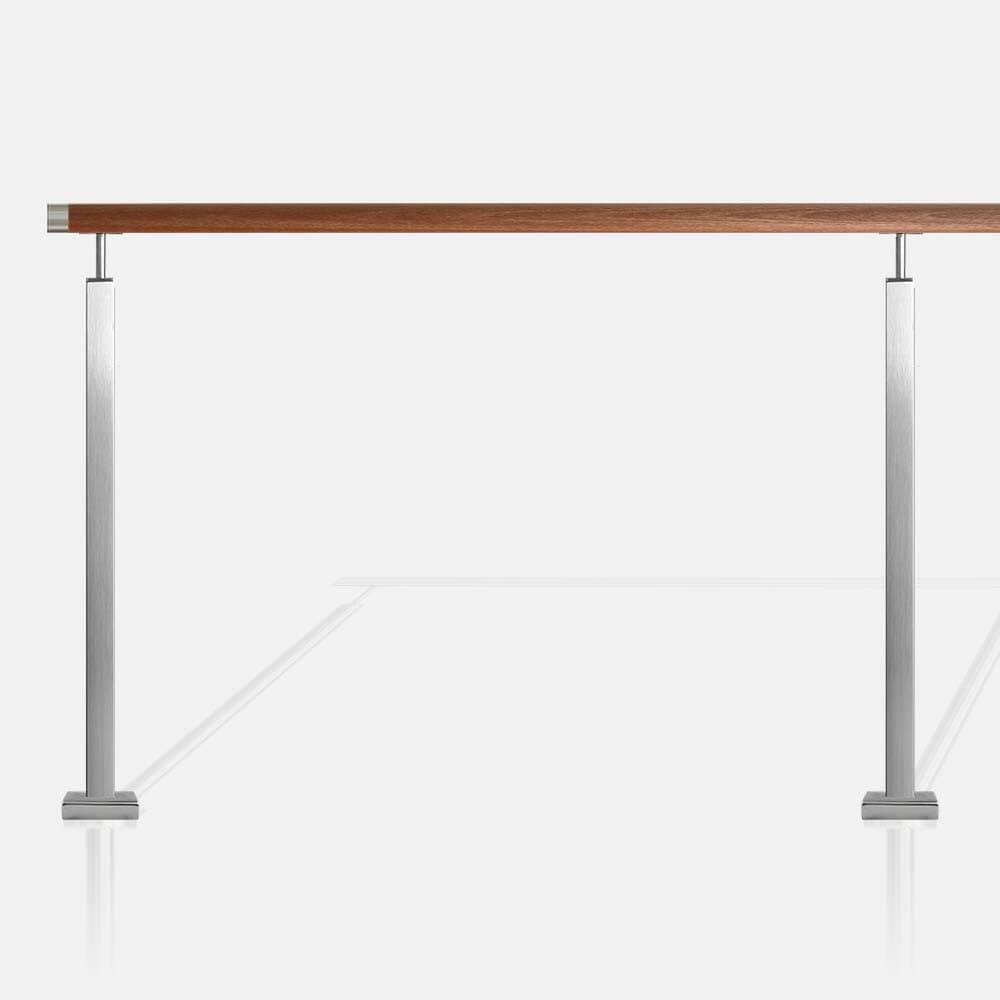 Balustrade sans remplissage inox tube carré main courante bois exotique