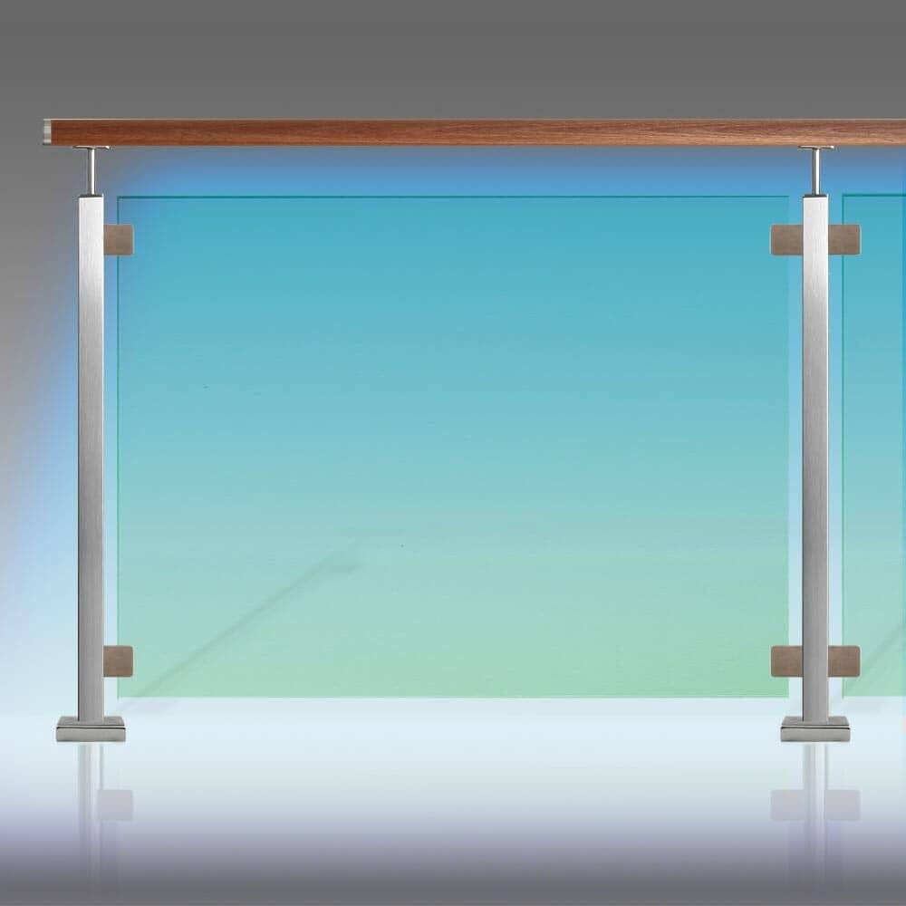 Kit Clôture piscine inox à leds étanche IP 65 tube inox carré rampe bois exotique