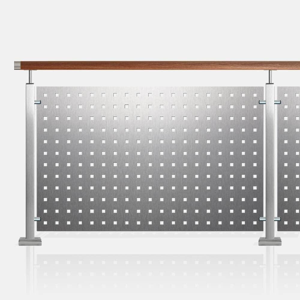 Kit balustrade tôle perforée tube inox carré rampe bois exotique