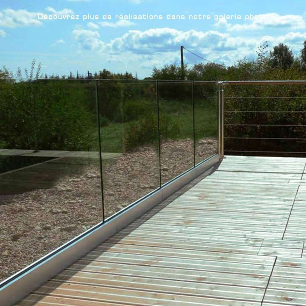 Balustrade profil alu verre 66/2 pour plein pieds