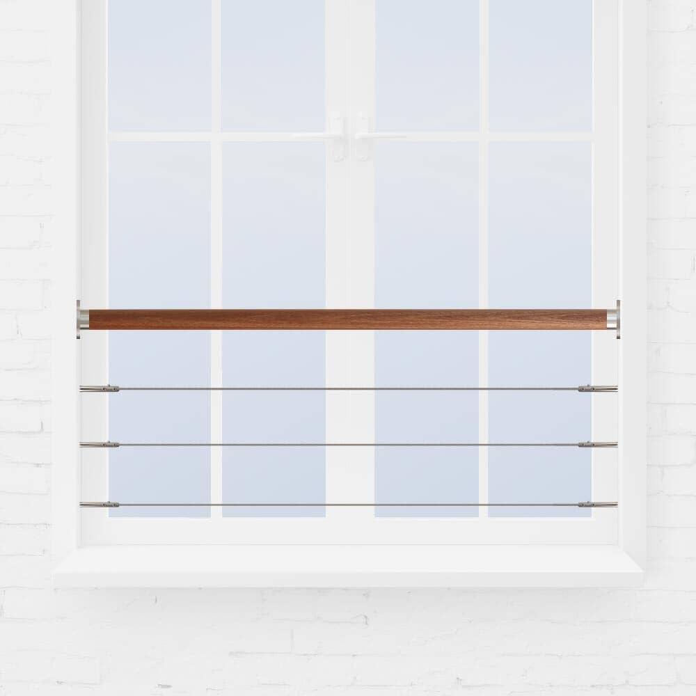 Kit barre appui de fenêtre inox à 3 câbles main courante bois exotique
