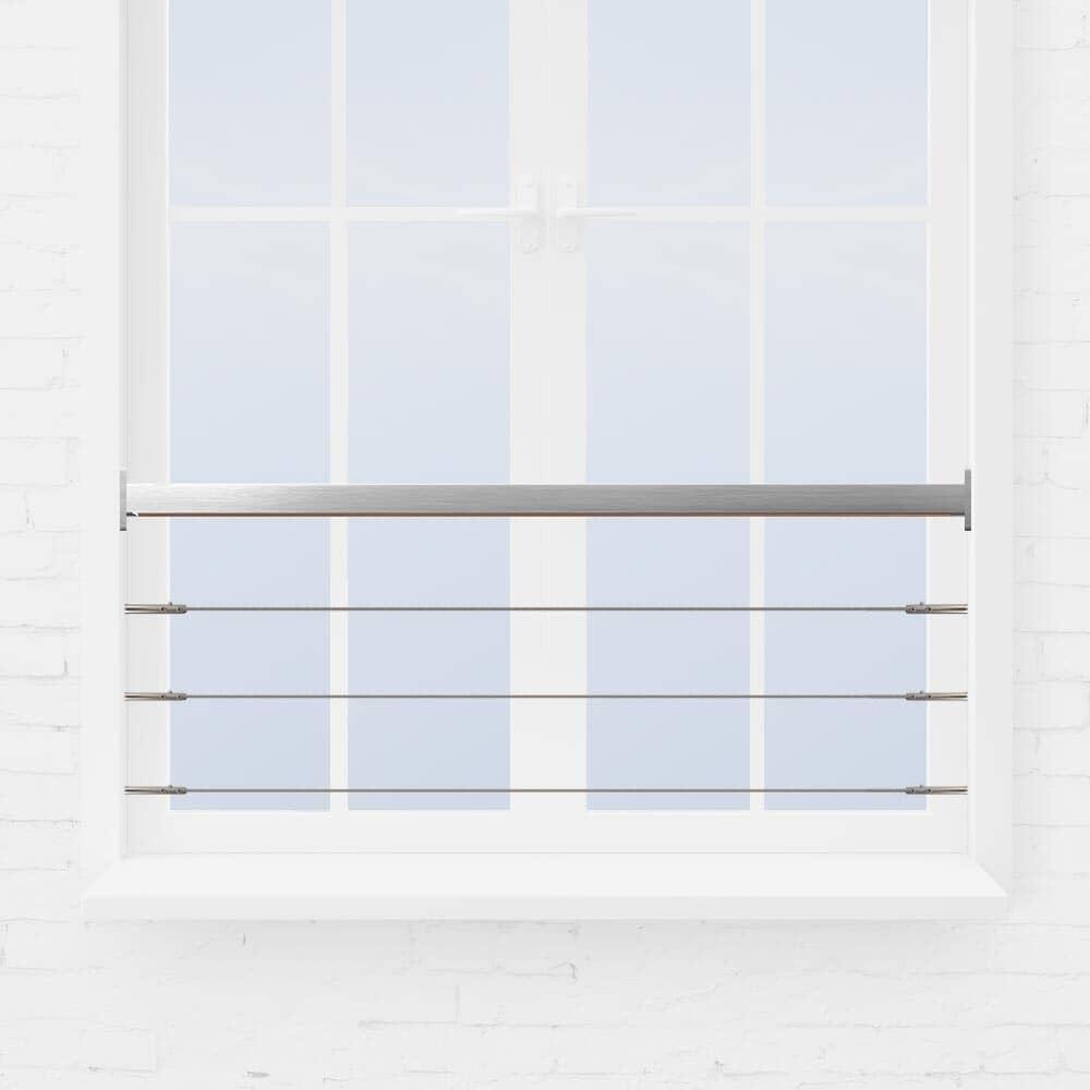 Kit barre appui de fenêtre à 3 câbles tube inox carré
