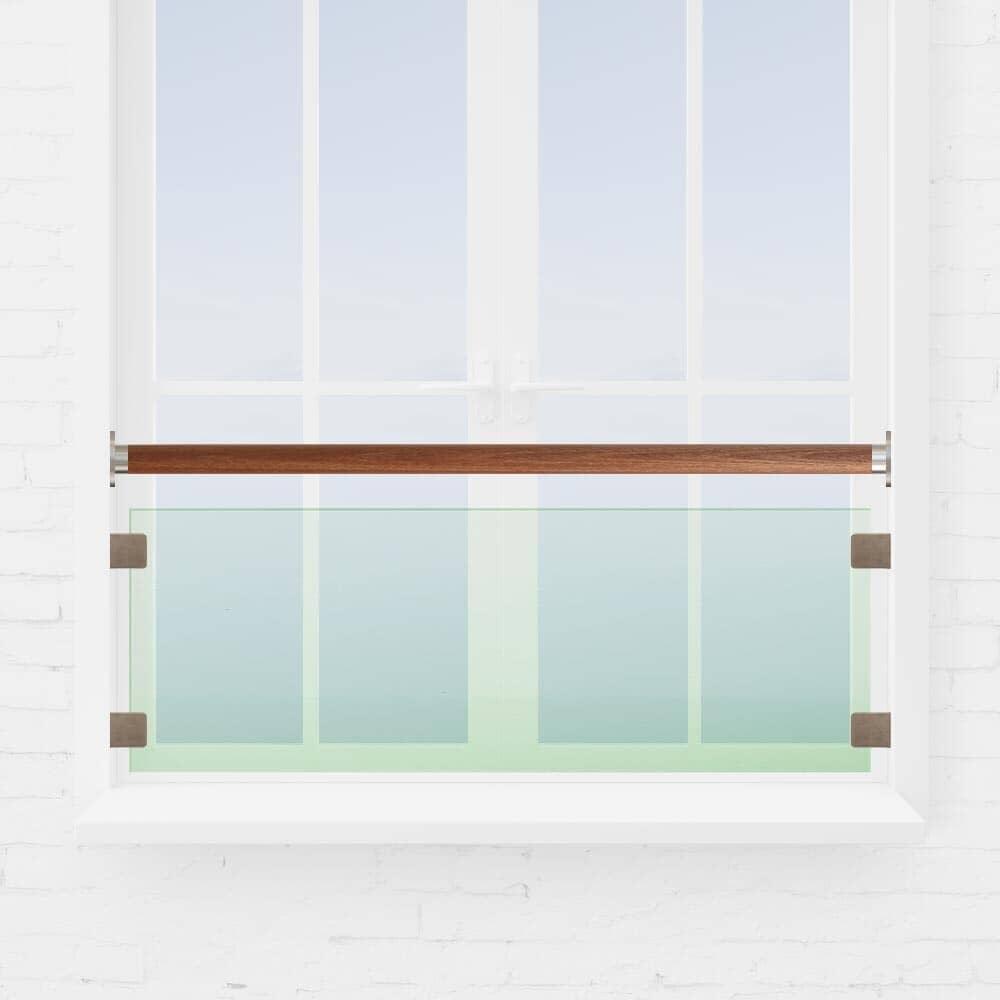 Kit barre appui de fenêtre verre main courante bois exo