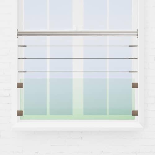 Kit garde-corps fenêtre câbles + verre