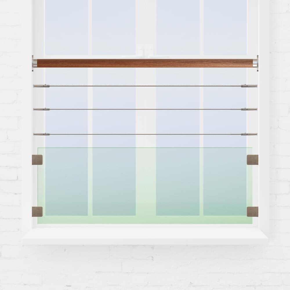 Kit balustrade fenêtre câbles et verre main courante bois exotique