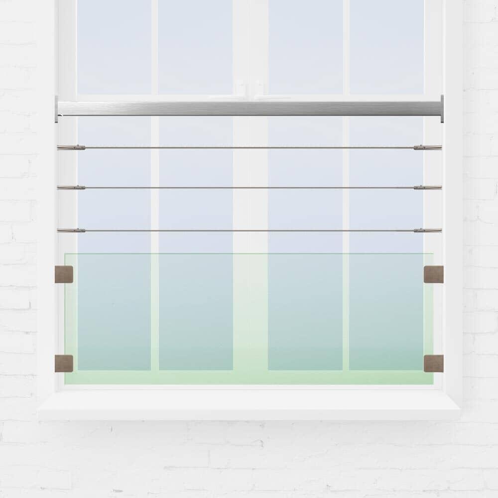 Kit rambarde fenêtre câbles et verre tube carré