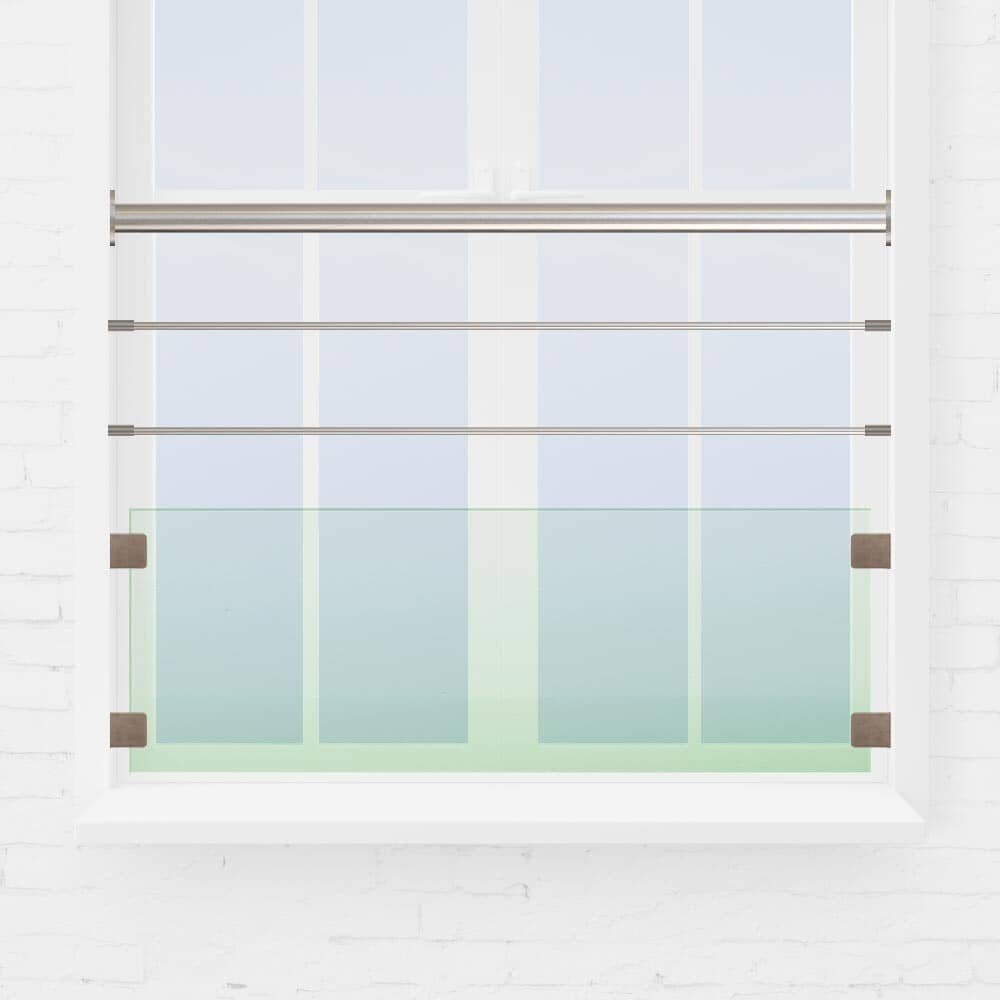 Balustrade fenêtre verre et tubes inox