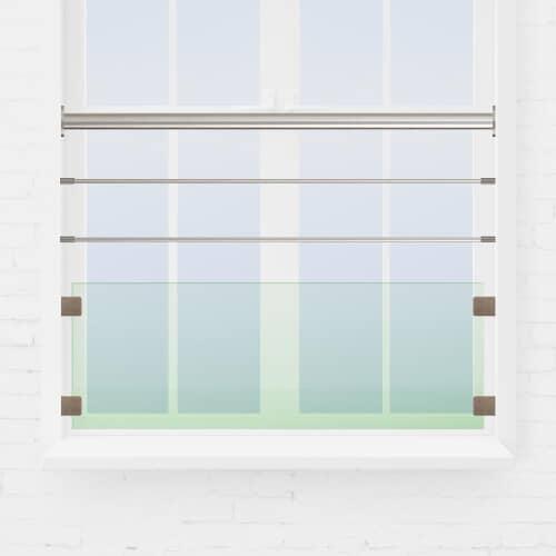 Kit garde-corps fenêtre lisses + verre