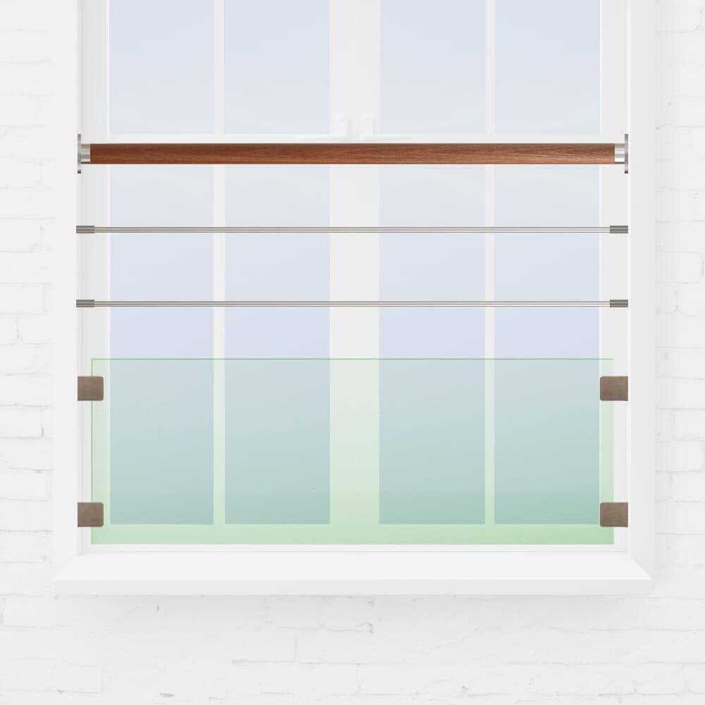 garde-corps fenêtre verre et tubes inox