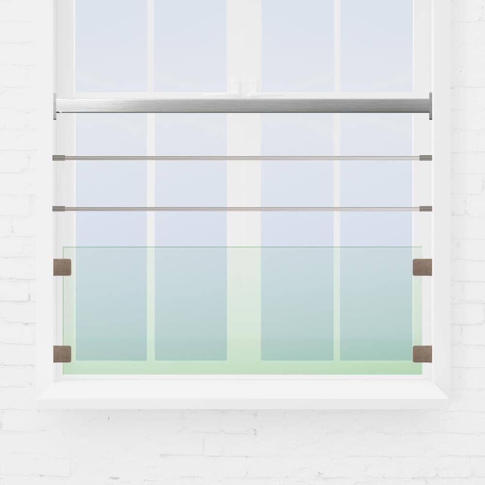 Balustrade fenêtre verre et tubes inox main courante carrée