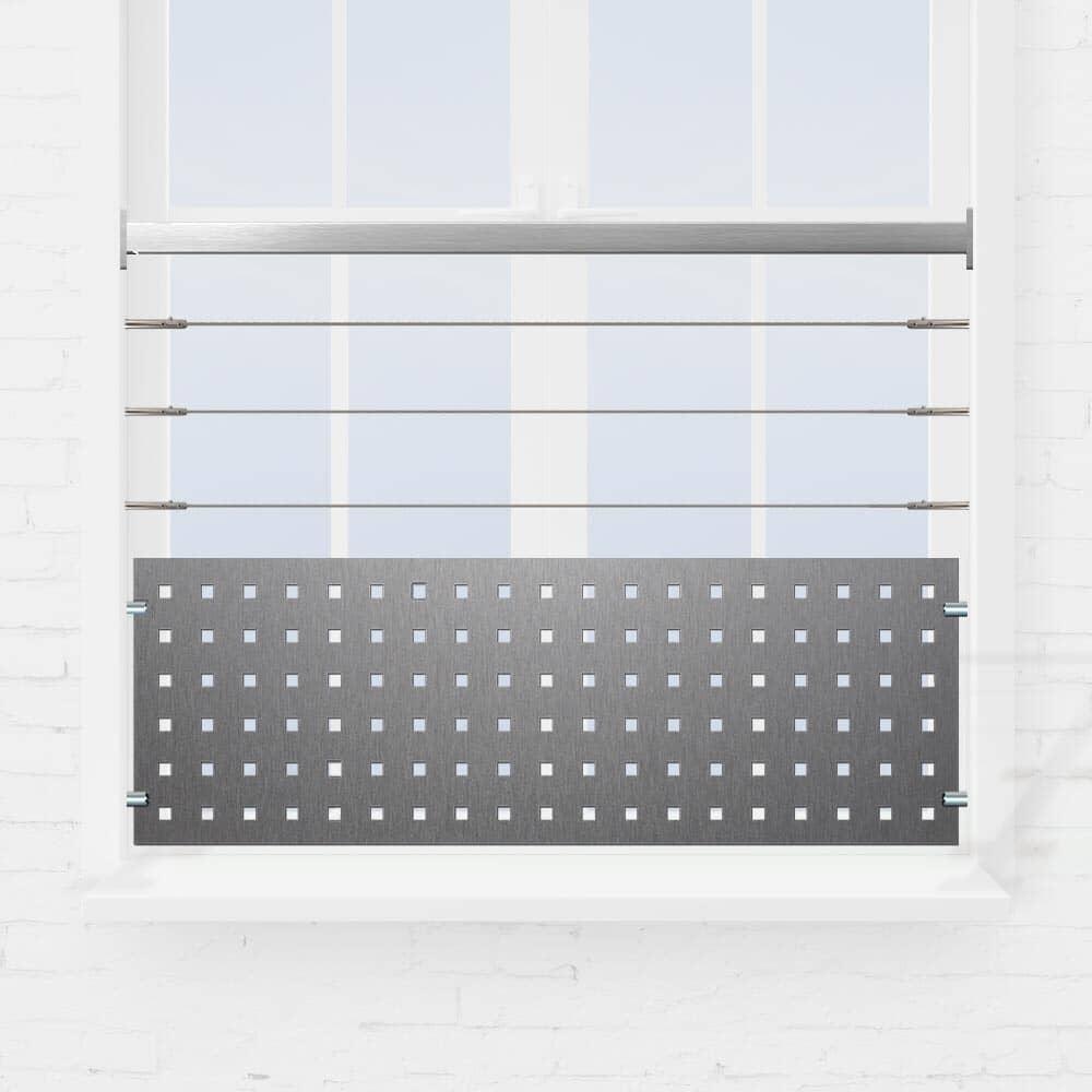 Kit garde-corps fenêtre à 2 lisses ou tube et tôle perforée