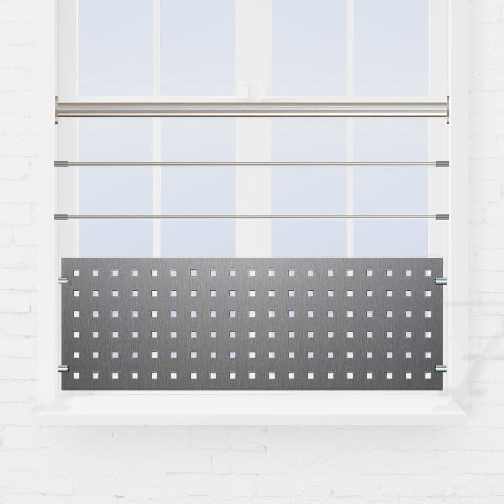Kit rambarde fenêtre à 2 lisses ou tube et tôle perforée