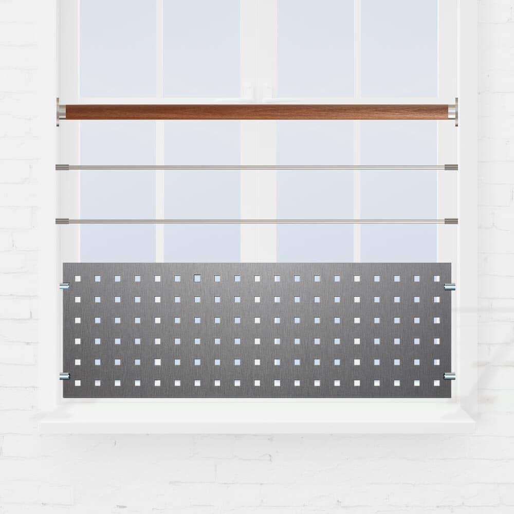 Kit Balustrade fenêtre à 2 lisses ou tube et tôle perforée main courante bois exo