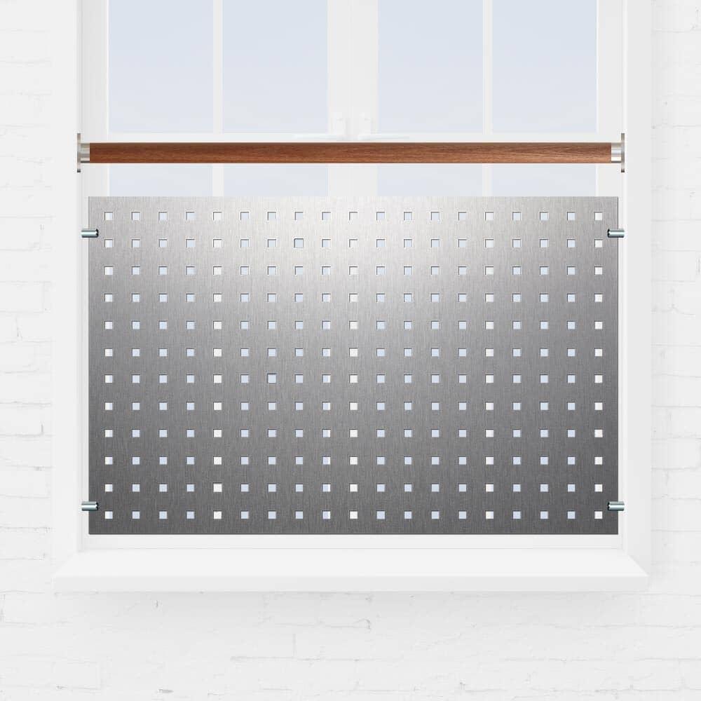 Kit garde-corps fenêtre tôle perforée main courante bois exotique