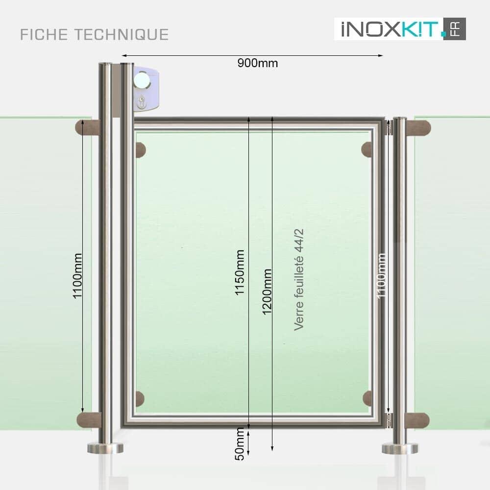 Portillon sécurité piscine pour barrière inox et verre