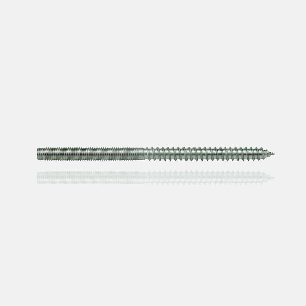 Vis double filetage A4 M6x45/bois 6x60mm, inox 316