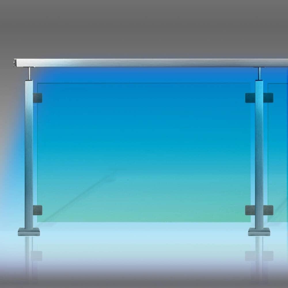 Garde-corps verre et leds tube inox carré