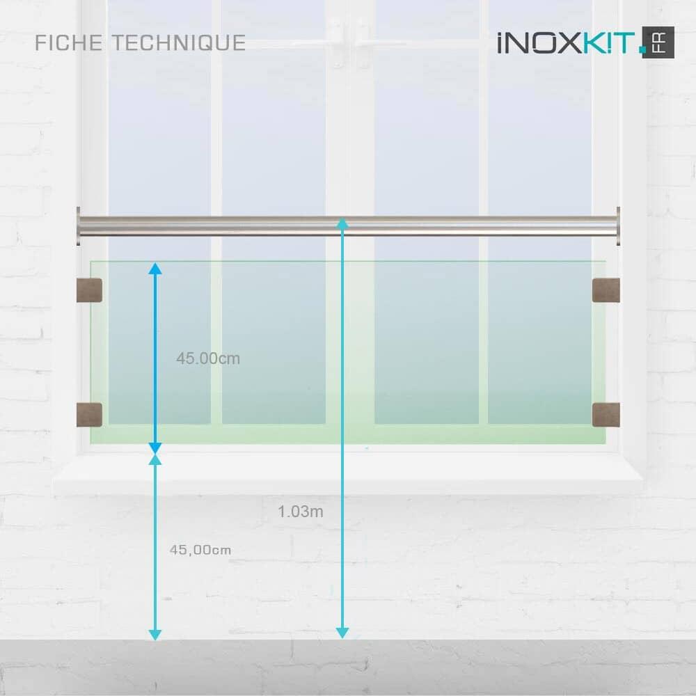 Kit barre appui de fenêtre verre main courante inox