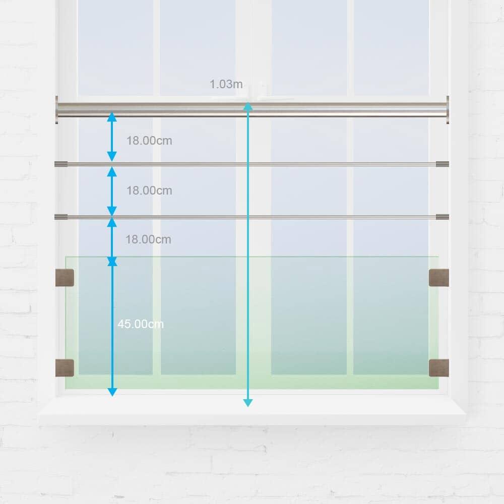 Kit garde-corps fenêtre verre et câble
