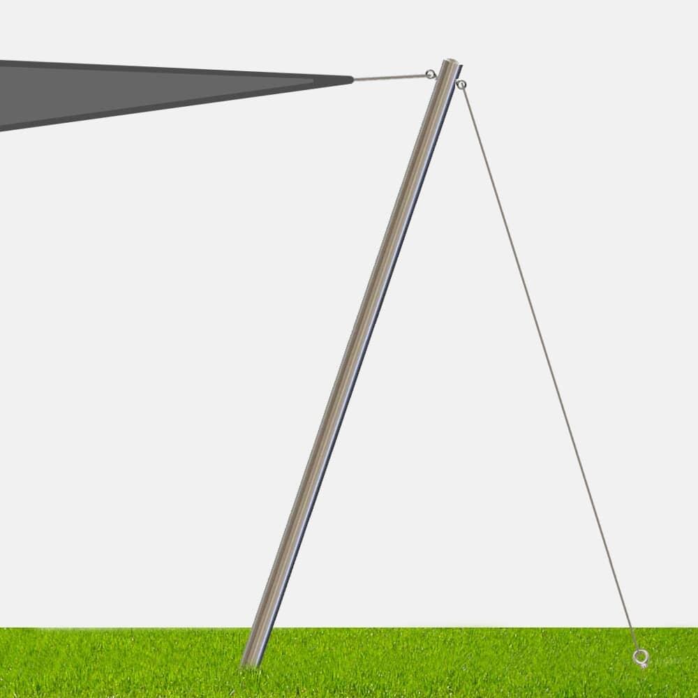 Fixation Voile D Ombrage mât inox haubané pour voile d'ombrage