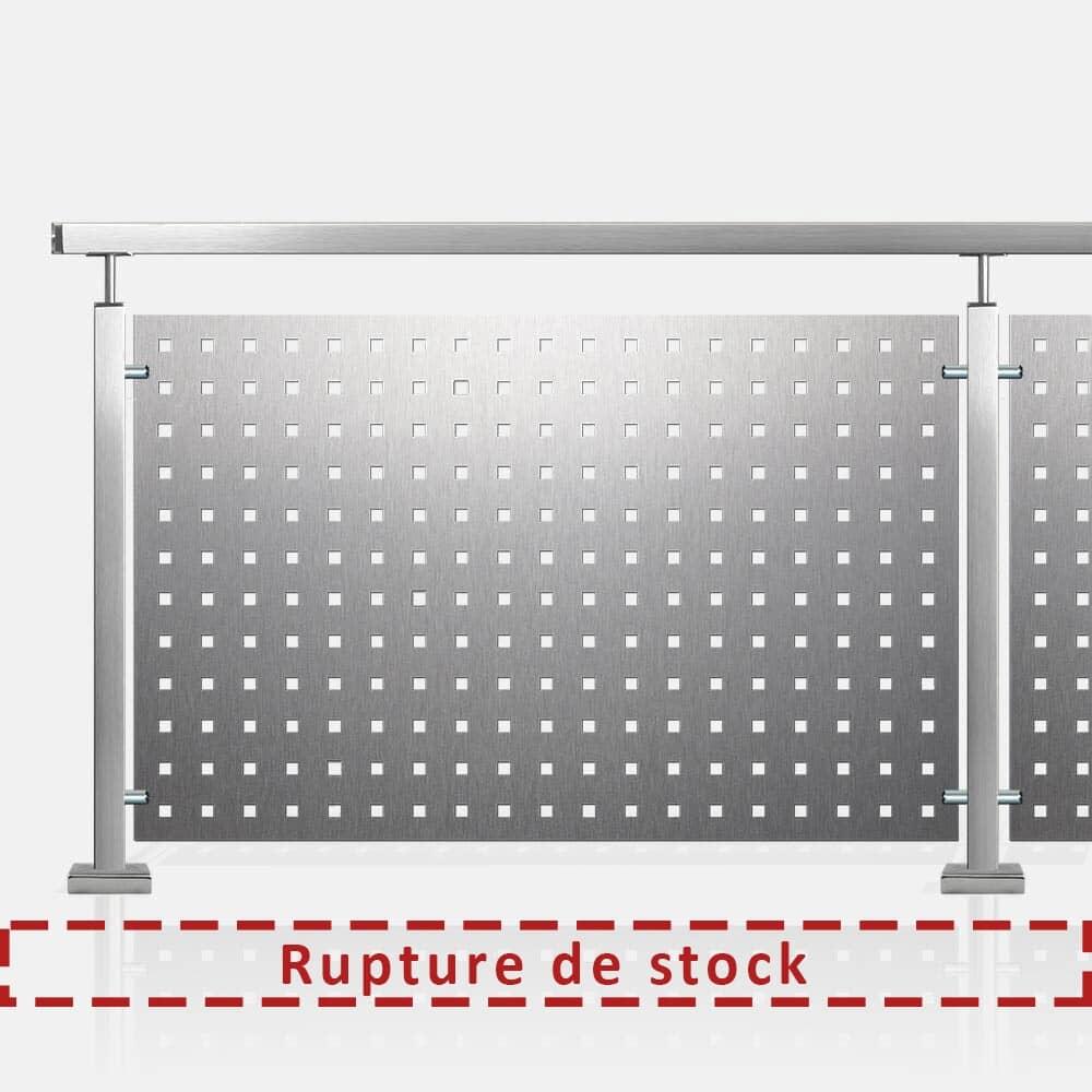 Kit garde-corps tôle perforée tube inox carré rampe bois