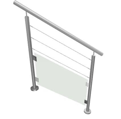 Kit garde-corps escalier en verre